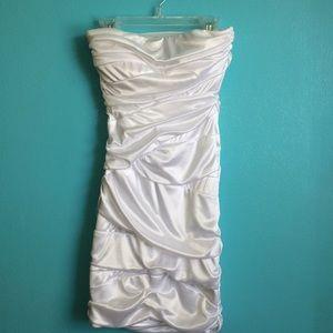 White Satin Strapless Dress